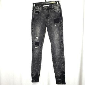 Zara Trafaluc Denim Distressed Gray Jeans Size 2
